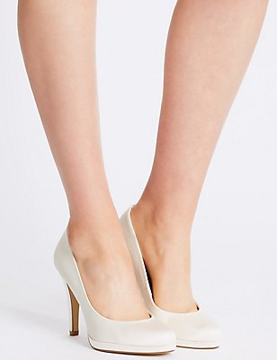 Stiletto Satin Court Shoes, CREAM, catlanding