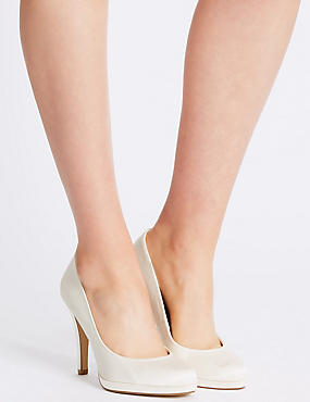 Satin Platform Court Shoes with Insolia®, CREAM, catlanding