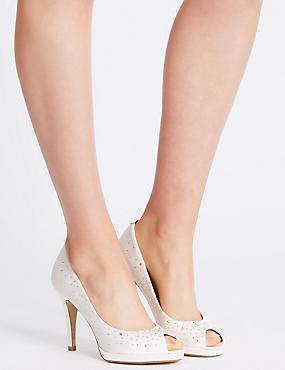 Stiletto Peep Diamante Platform Court Shoes, CREAM, catlanding