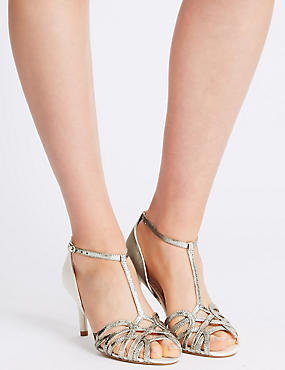 Stiletto Buckle Caged Sandals with Insolia®, CREAM MIX, catlanding