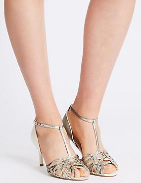 Sandales à talons aiguilles et motif cage, dotées de la technologie Insolia®, CRÈME ASSORTI, catlanding