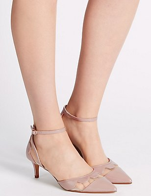 Kitten Ankle Strap Court Shoes, NUDE, catlanding