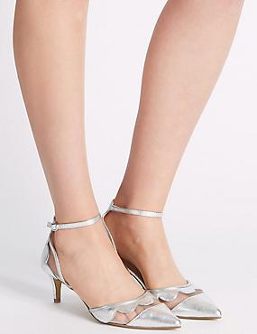 Kitten Ankle Strap Court Shoes, SILVER, catlanding