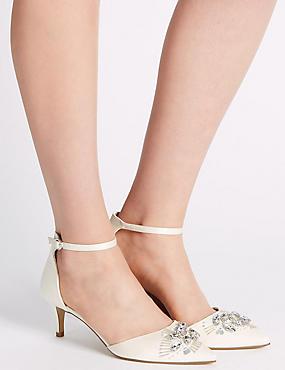 Kitten Satin Jewel Two-Part Court Shoes, CREAM, catlanding