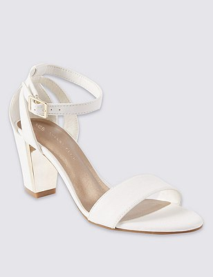 Two Part Block Heel Sandals with Insolia®, WHITE, catlanding