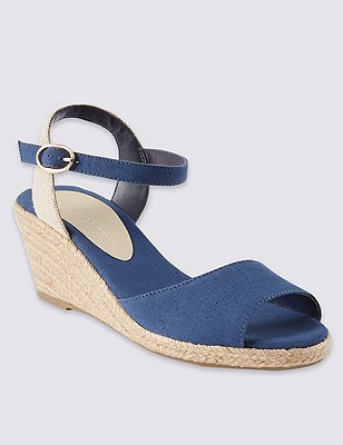 Open Toe Wedge Espadrilles, NAVY, catlanding