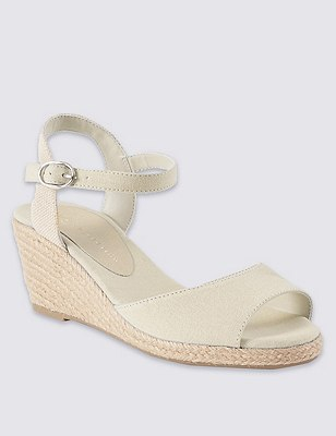 Open Toe Wedge Espadrilles, CREAM, catlanding