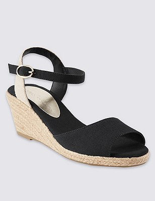 Open Toe Wedge Espadrilles, BLACK, catlanding
