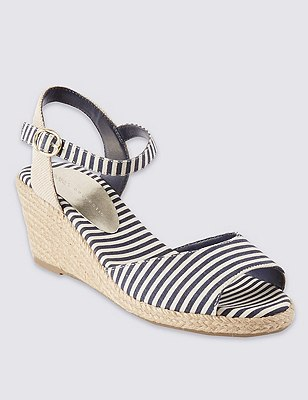 Open Toe Striped Wedge Espadrilles, NAVY MIX, catlanding