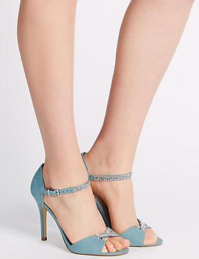 Sandales étincelantes à deux parties et hauts talons aiguilles , GRIS-BLEU, catlanding
