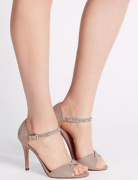Sandales étincelantes à deux parties et hauts talons aiguilles , MARRON ROSÉ, catlanding