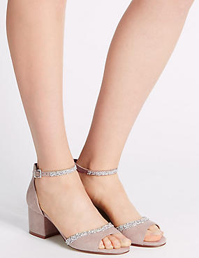 Block Heel Sparkle Sandals with Insolia®, MINK, catlanding