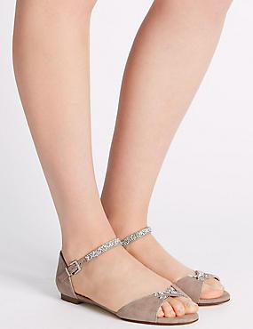 Sandales scintillantes, dotées de la technologie Insolia Flex®, MARRON ROSÉ, catlanding