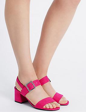 Block Heel Sandals, PINK, catlanding