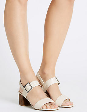Block Heel Buckle Sandals with Insolia®, ECRU, catlanding