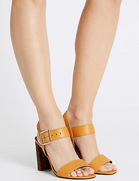 Block Heel Buckle Sandals with Insolia®, OCHRE, catlanding
