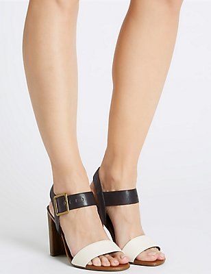 Block Heel Buckle Sandals with Insolia®, BLACK/WHITE, catlanding