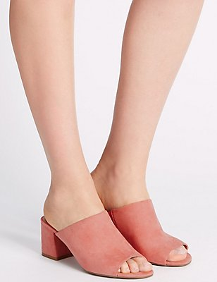 Block Heel Mule Shoes, PINK, catlanding