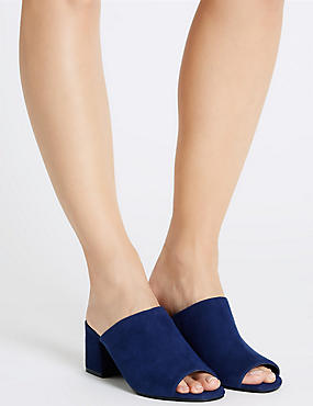 Block Heel Mule Shoes with Insolia®, NAVY, catlanding