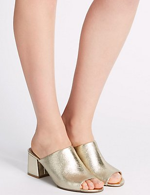 Block Heel Mule Shoes, GOLD, catlanding