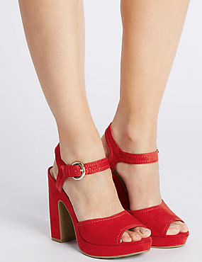 Angular Heel Sandals with Insolia®, RED, catlanding