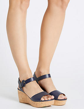 Wedge Heel Sandals with Insolia®, NAVY, catlanding