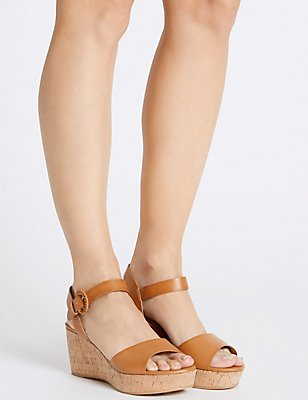 Wedge Heel Sandals, TAN, catlanding