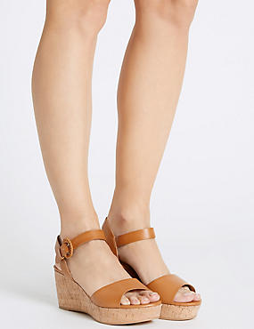 Wedge Heel Sandals with Insolia®, TAN, catlanding