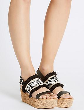 Wedge Heel Buckle Sandals, BLACK MIX, catlanding