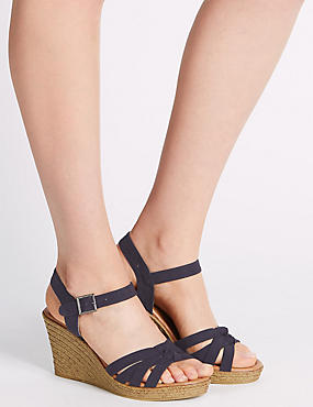 Wedge Heel Buckle Knot Crossover Sandals, NAVY, catlanding