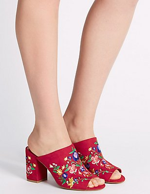 Angular Heel Embroidered Mule Shoes, RED, catlanding