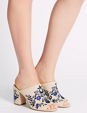 Angular Heel Embroidered Mule Shoes, NAVY, catlanding