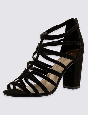 Wide Fit Caged High Block Heel Sandals with Insolia®, BLACK, catlanding