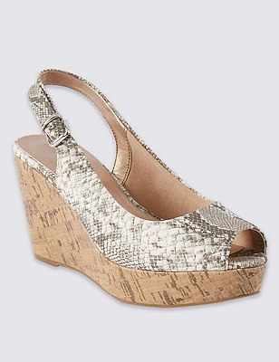Wide Fit Peep Sling Wedge Sandals with Insolia®, NATURAL MIX, catlanding