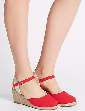 Wide Fit Wedge Heel Closed Toe Espadrilles, RED, catlanding