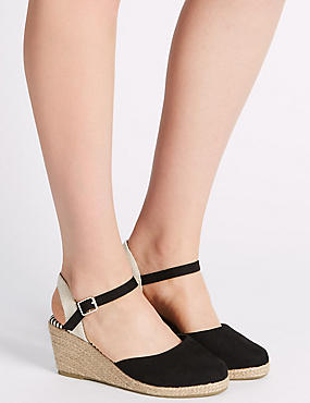 Wide Fit Wedge Heel Closed Toe Espadrilles, BLACK, catlanding