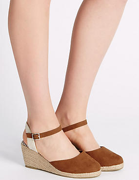 Wide Fit Wedge Heel Closed Toe Espadrilles, TAN, catlanding
