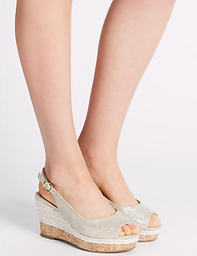 Wide Fit Wedge Heel Sling Back Espadrilles, METALLIC, catlanding
