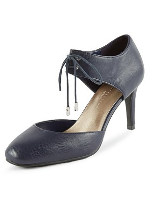 Lace Up Stiletto Wide Fit Court Shoes with Insolia®, NAVY, catlanding