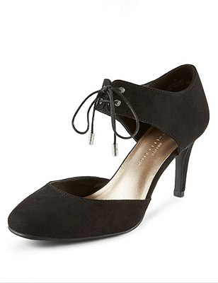 Faux Suede Stiletto Wide Fit Court Shoes with Insolia®, BLACK, catlanding