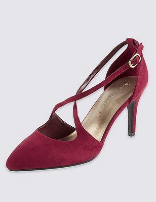 Wide Fit Pointed Toe Crossover Court Shoes with Insolia®, BERRY, catlanding
