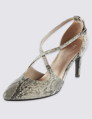 Faux Snakeskin Print Wide Fit Court Shoes with Insolia®, NATURAL MIX, catlanding