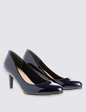 Almond Toe Wide Fit Court Shoes with Insolia®, NAVY, catlanding
