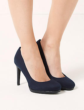 Wide Fit Stiletto High Heel Platform Court with Insolia®, NAVY, catlanding