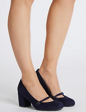 Wide Fit Block Heel Court Shoes, NAVY, catlanding