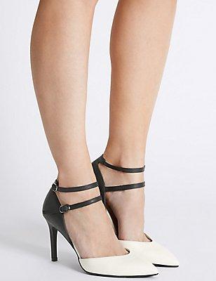 Wide Fit Faux Leather Stiletto Court Shoes, BLACK/WHITE, catlanding