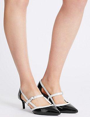 Wide Fit Kitten Heel Strap Court Shoes, BLACK/WHITE, catlanding