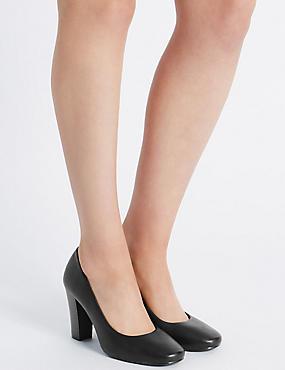 Wide Fit Block Heel Court Shoes , BLACK, catlanding