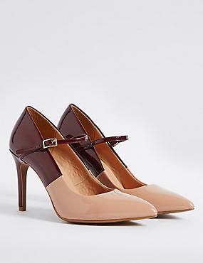 Wide Fit Stiletto Court Shoes, NUDE MIX, catlanding