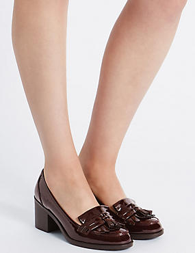 Wide Fit Block Heel Fringe Loafers, OXBLOOD, catlanding